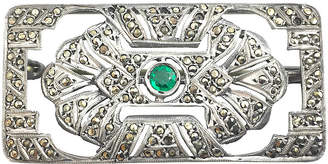 One Kings Lane Vintage Art Deco Marcasite & Green Stone Brooch - Owl's Roost Antiques
