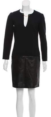 Emilio Pucci Leather-Accented Virgin Wool Dress