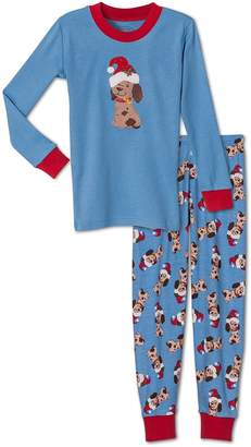 Sara's Prints Unisex, Christmas Puppy 2-Piece Pajama, Kids