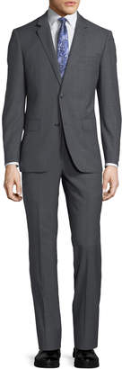 Neiman Marcus Two-Button Windowpane Two-Piece Suit, Gray