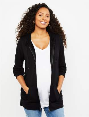 Motherhood Maternity Zip Front Ruched Maternity Hoodie