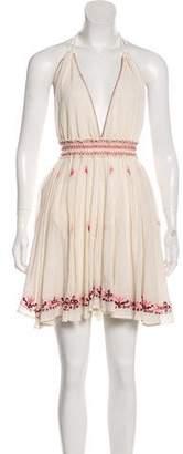 LoveShackFancy Embroidered Halter Mini Dress