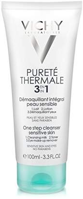 Vichy Pureté Thermale 3-in-1 One Step Face Wash Cleanser and Eye Makeup Remover for Sensitive Skin