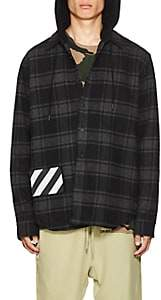 Off-White Men's Checked Cotton-Blend Hooded Shirt-Dark Gray