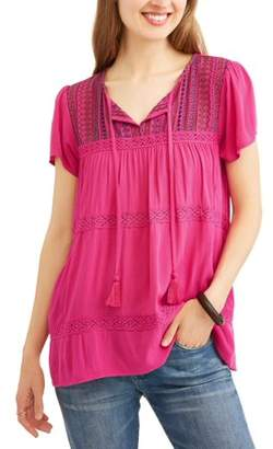 Cherokee Women's Textured Peasant Top with Embroidery