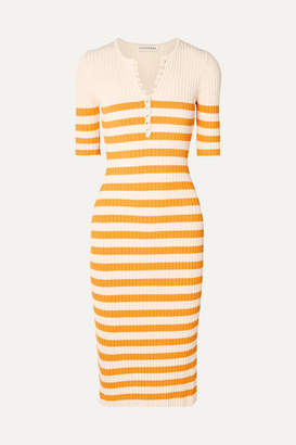 5f22f3d469d4 Altuzarra Sunday Striped Ribbed Stretch-knit Midi Dress - Yellow
