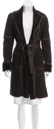 Agnona Shearling Open Front Coat