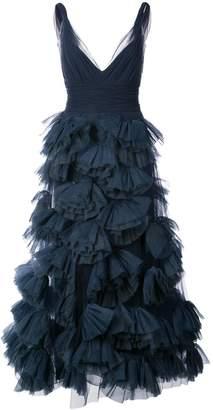Marchesa plunge ruffled skirt dress