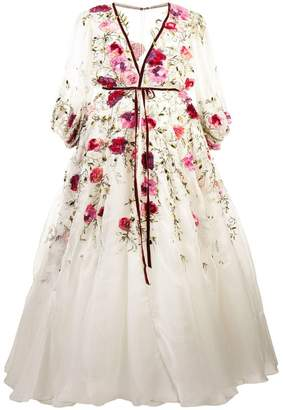 Marchesa flared floral gown