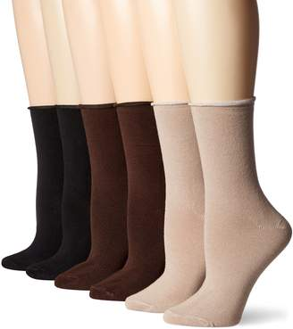 Peds Women's Roll Top Cushion Crew Socks, 6 Pairs