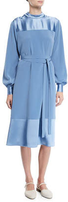 Co Button-Shoulder Long-Sleeve Stretch-Crepe Dress w/ Satin
