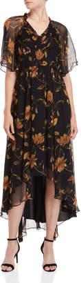Shoshanna Apsley Leaf Print Hi-Low Silk Dress