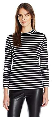 Trina Turk Women's Jenner Stripe Jersey Long Sleeve Funnel Neck