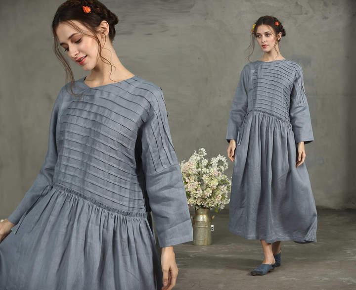Etsy Maxi Linen Dress, Maxi Smoky Gray Dress, Pintuck Dress, Grey Linen Dress, Drawstring Wasit Dress, Dr