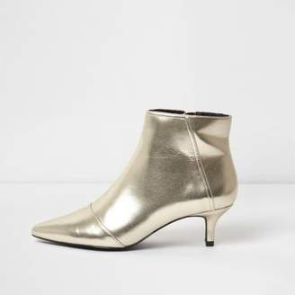 River Island Gold metallic pointed kitten heel ankle boots