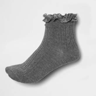 River Island Womens Grey lace frill socks