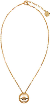 Versace Gold Round Cage Medusa Necklace $275 thestylecure.com