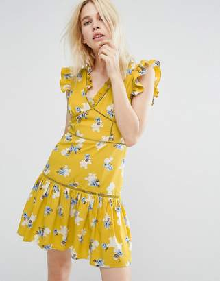 J.o.a. Sleeveless Tea Dress With Ruffle Details In Vintage Floral