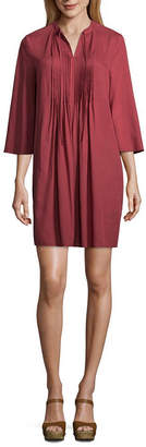 A.N.A Notch Neck Pintuck Dress Long Sleeve Shift Dress