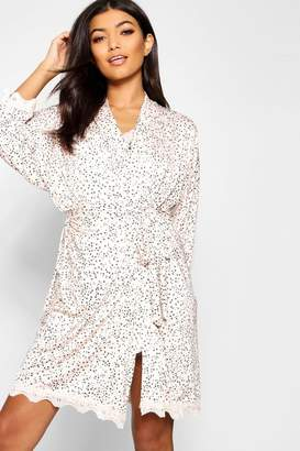 boohoo Star Print & Lace Robe