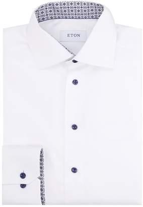 Eton Slim Fit Contrast Button Shirt