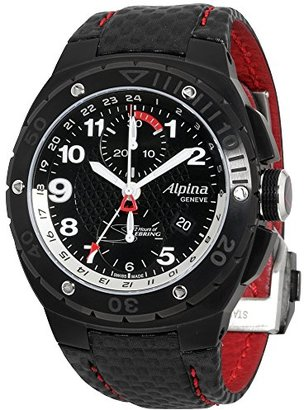 Alpina レーシングブラックダイヤルレザーストラップメンズ腕時計al750lbr5fbar6