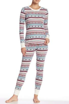 Free Press Henley Thermal Pajama Top & Pants Set