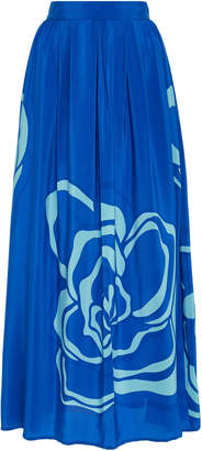Jaline Amy Pleated High-Rise Silk Maxi Skirt