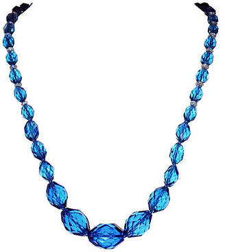 One Kings Lane Vintage 1920s Deep Blue Faceted Glass Necklace