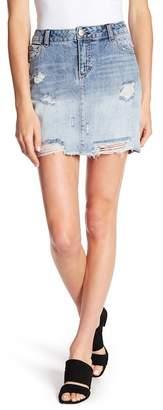 1822 Denim Distressed Denim Mini Skirt