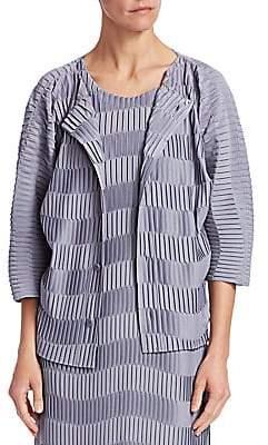Issey Miyake Women's Wave Stripe Pleated Cardigan