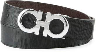 Salvatore Ferragamo Reversible Saffiano Gancini Buckle Belt, Black/Hickory