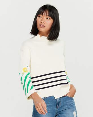 Sjyp Stripe Flower Applique Long Sleeve Sweater