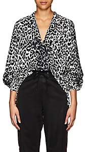 Givenchy Women's Leopard-Pattern Silk Tunic - Black