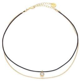 Jules Smith Dual-Strand Leather & Crystal Choker $55 thestylecure.com