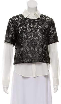 Elizabeth and James Layered Button-Up Top