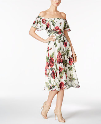 Betsey Johnson Printed Off-The-Shoulder Midi Dress $118 thestylecure.com