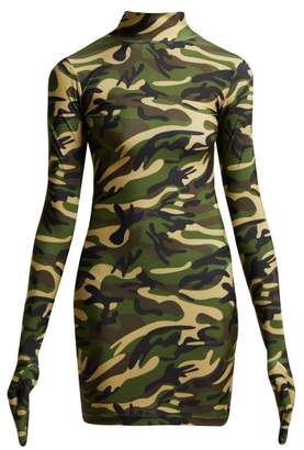 Vetements Camouflage Print Glove Dress - Womens - Khaki