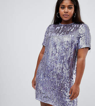 Asos DESIGN Curve mini shift dress in heavily embellished fringed sequin