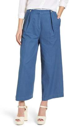J.o.a. Crop Wide Leg Chambray Pants