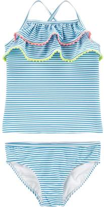 Carter's Girls 4-14 Ruffled Striped Top & Bottoms Swimsuit Set