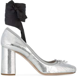 Silver Ballerina 90 ankle tie heels
