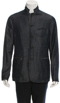 John Varvatos Denim Zip-Up Jacket $220 thestylecure.com