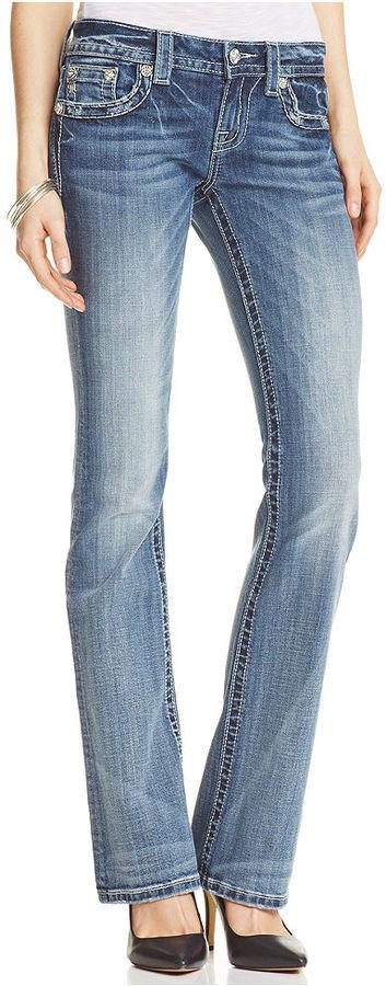 Miss Me Rhinestone Cross Bootcut Jeans