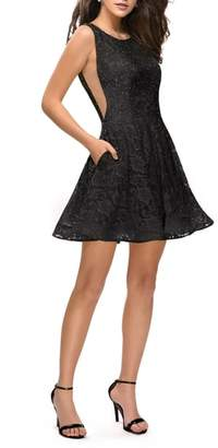 La Femme Lace Fit & Flare Party Dress