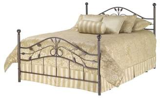 Fashion Bed Group Sycamore Complete Metal Bed and Steel Support Frame with Leaf Pattern Design and Round Final Posts, Hammered Copper Finish, Full