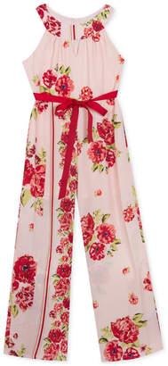 Rare Editions Big Girls Floral-Print Halter-Neck Jumpsuit