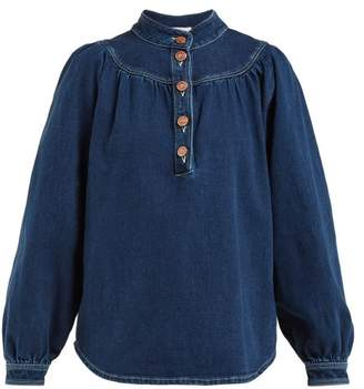 See by Chloe Stand Collar Denim Shirt - Womens - Blue