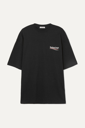 Balenciaga Oversized Printed Cotton-jersey T-shirt - Black