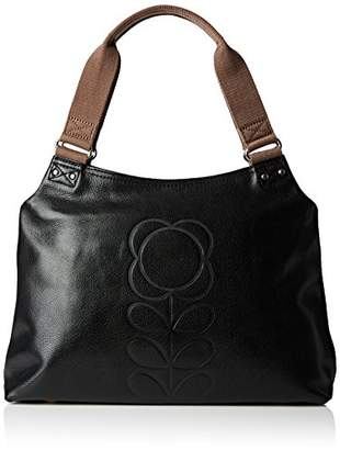 Orla Kiely Core Embossed Flower Leather Classic Shoulder Bag
